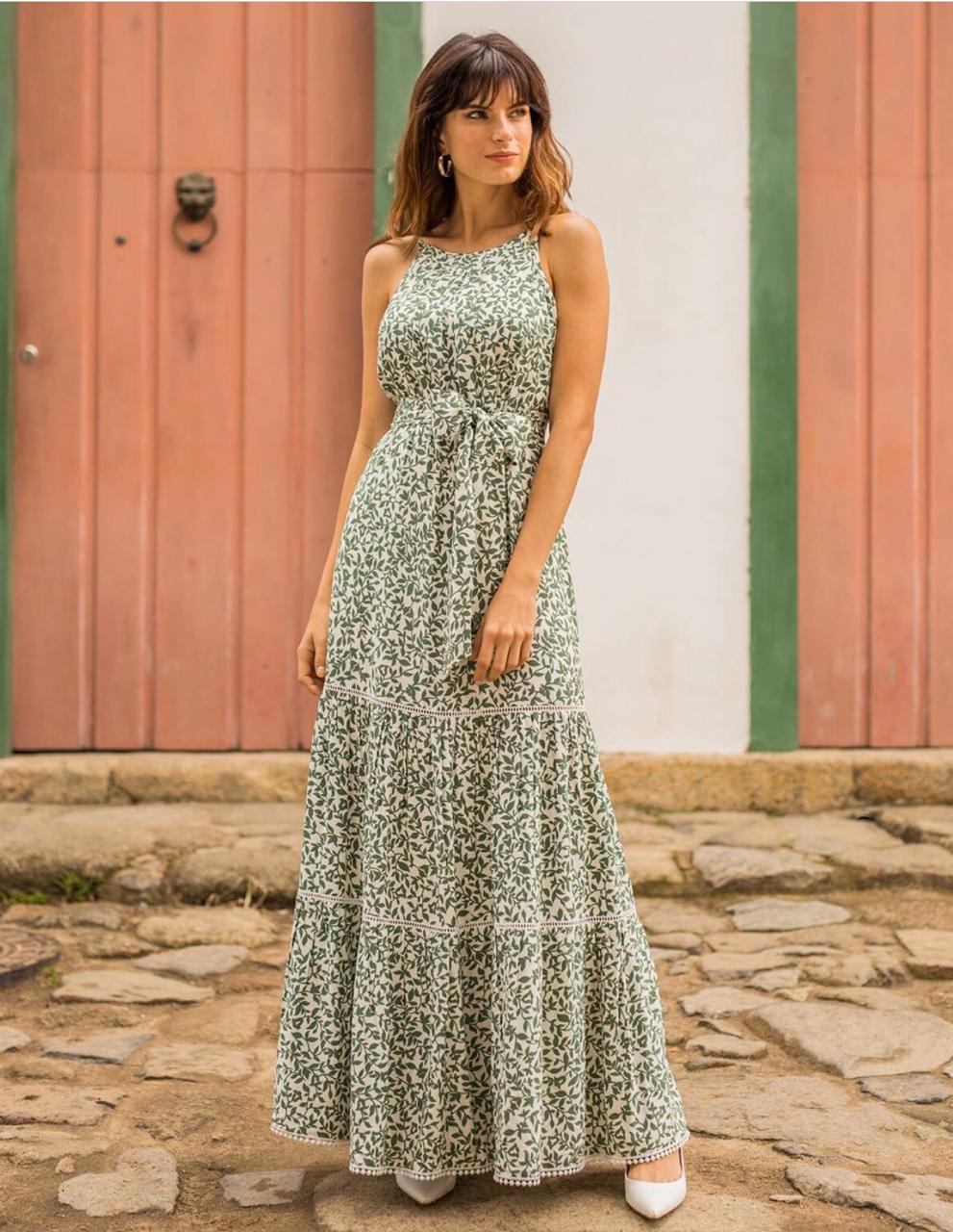 Vestido Cheroy  Julia  Viscose Rafina  Alça regulável  (forro) + Faixa