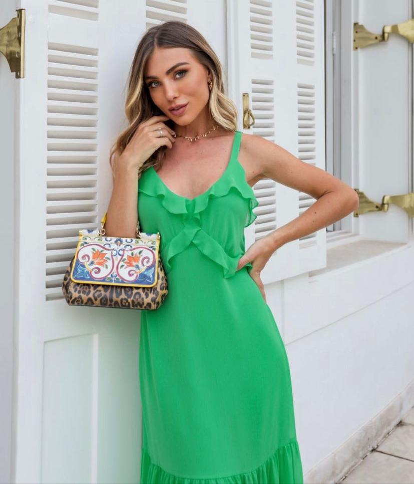 Vestido Juliana Chiffon (Forro) Longuete Alça Larga Regulador Detalhe Recorte Babados