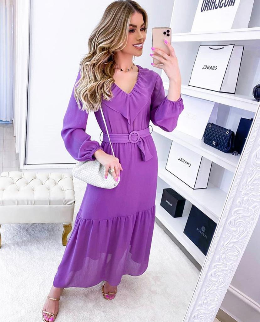 Vestido Juliana Crepe Manga Longa  c/ Cinto