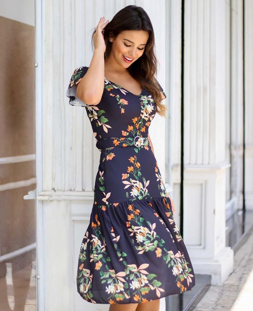 Vestido Karen  Crepe Floral Midi  + Cinto