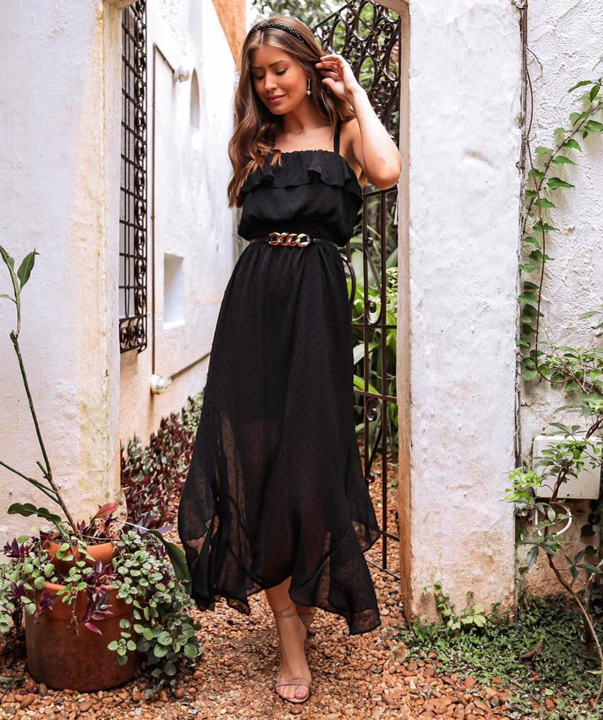 Vestido Karina Chiffon Dots (Forro) Detalhe Babados