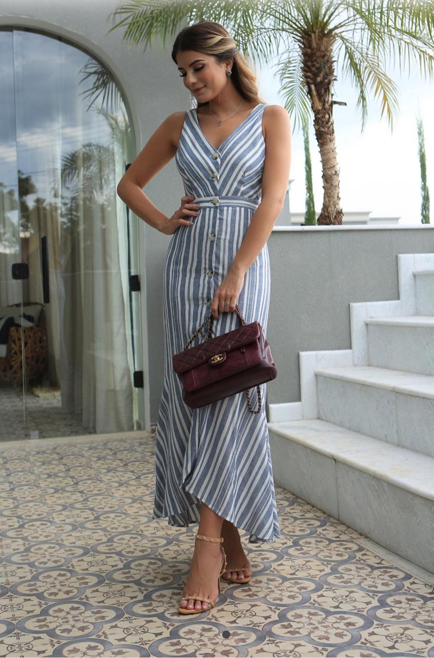 Vestido Karina Linho Print Listras