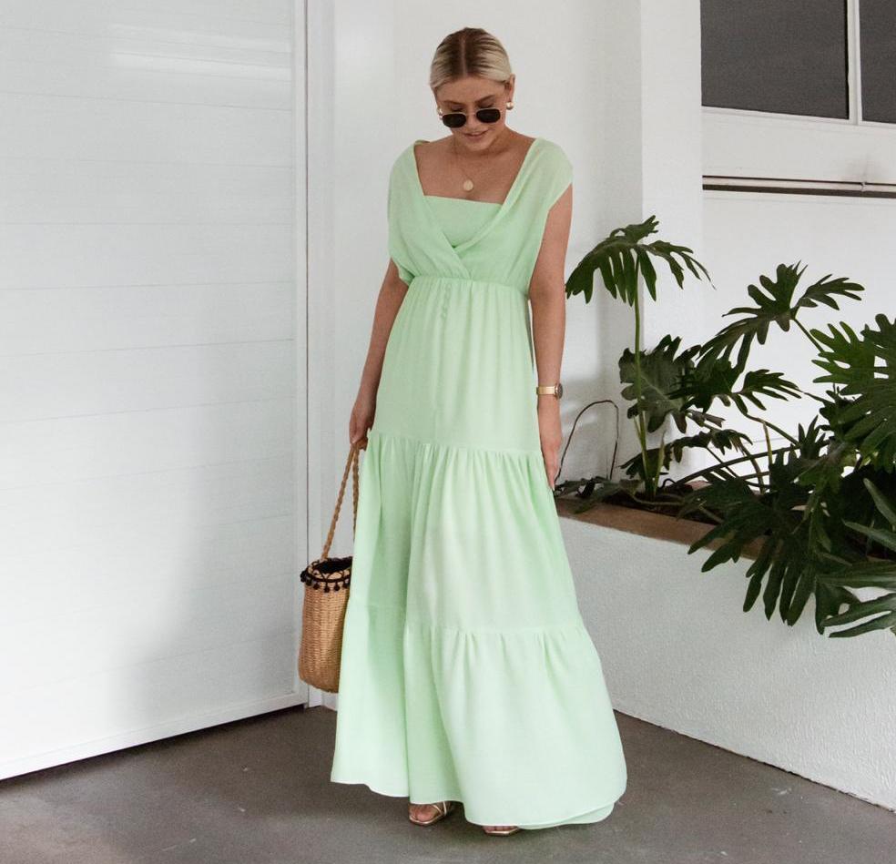 Vestido Karina Longo Com Top Crepe de Algodão