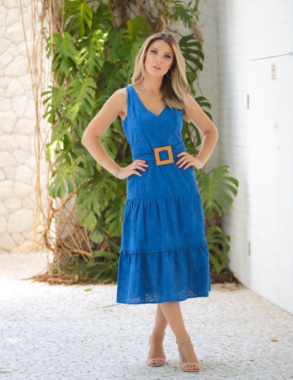 Vestido Karine Laise Midi Com Cinto Azul