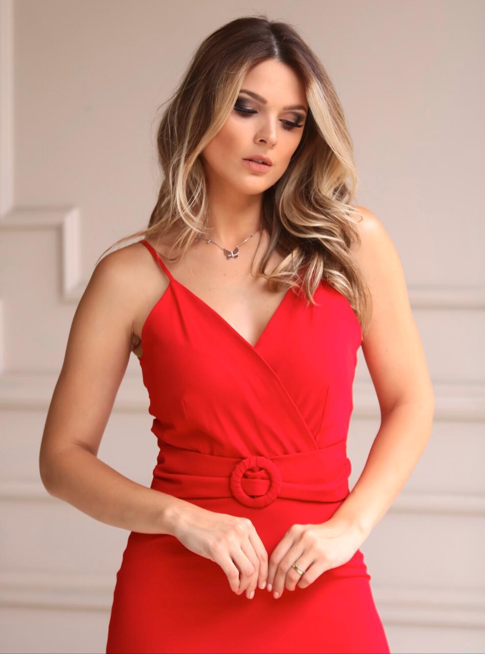Vestido Karmani Crepe Transpassado Detalhe Cinto