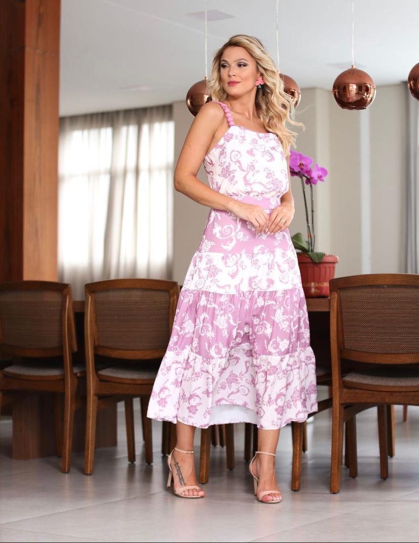Vestido  Leticia Midi Crepe Estampado