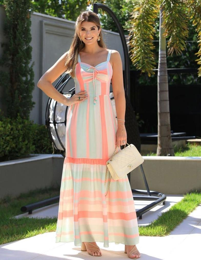 Vestido Katia Crepe Listras