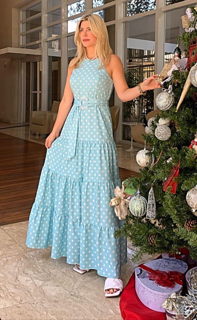 Vestido Ketlyn Crepe Acetinado Poa Com Cinto