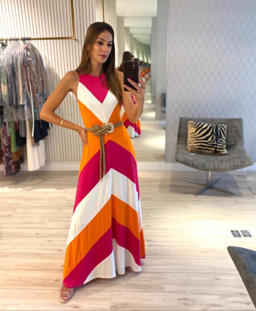 Vestido Kim  Malha  Multicolor  Com faixa