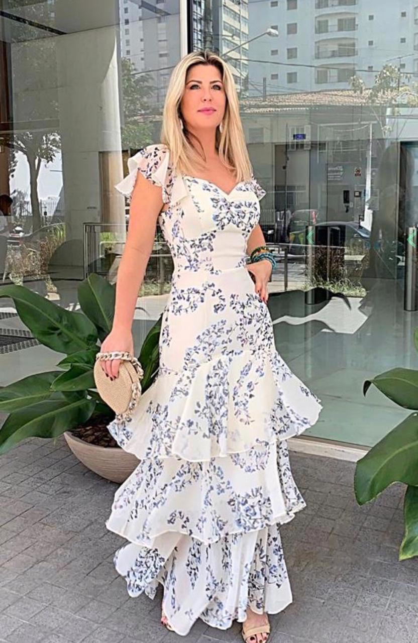 Vestido  La Chocole  Chiffon  Floral com Babados e franzidos