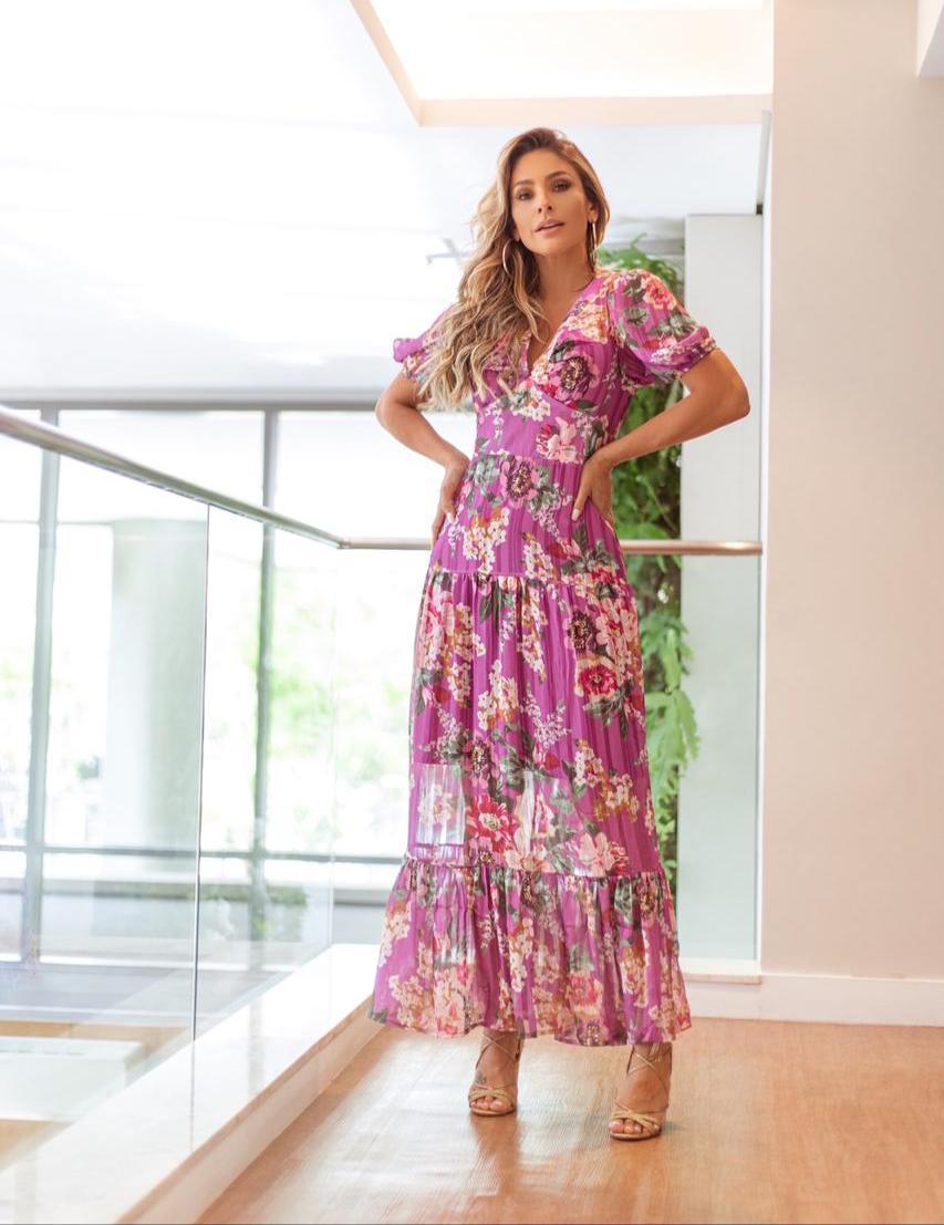 Vestido La Chocole Longo Estampado Com Mg Bufante