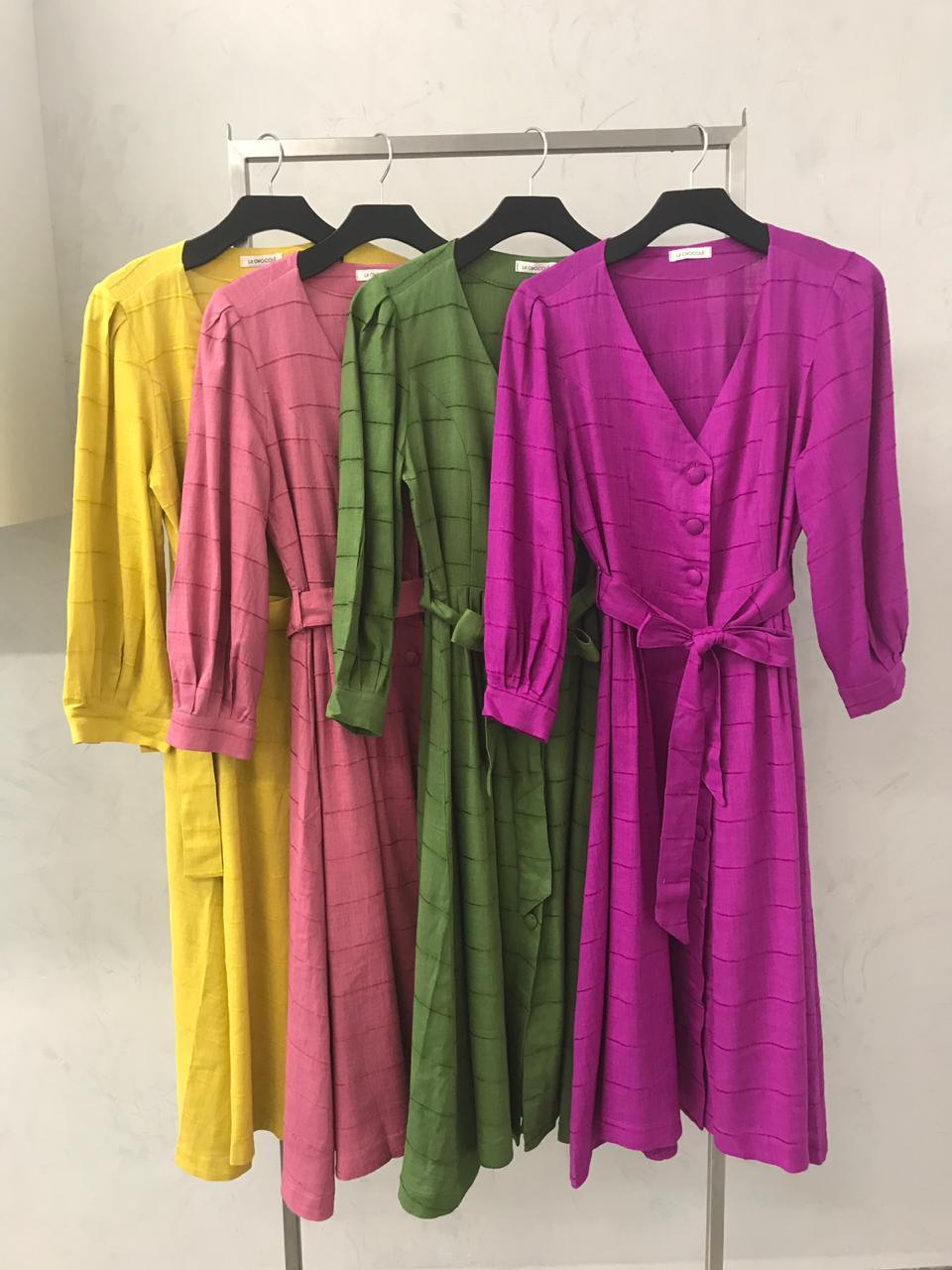 Vestido La Chocole Midi Linho Cores Verde e Fucsia