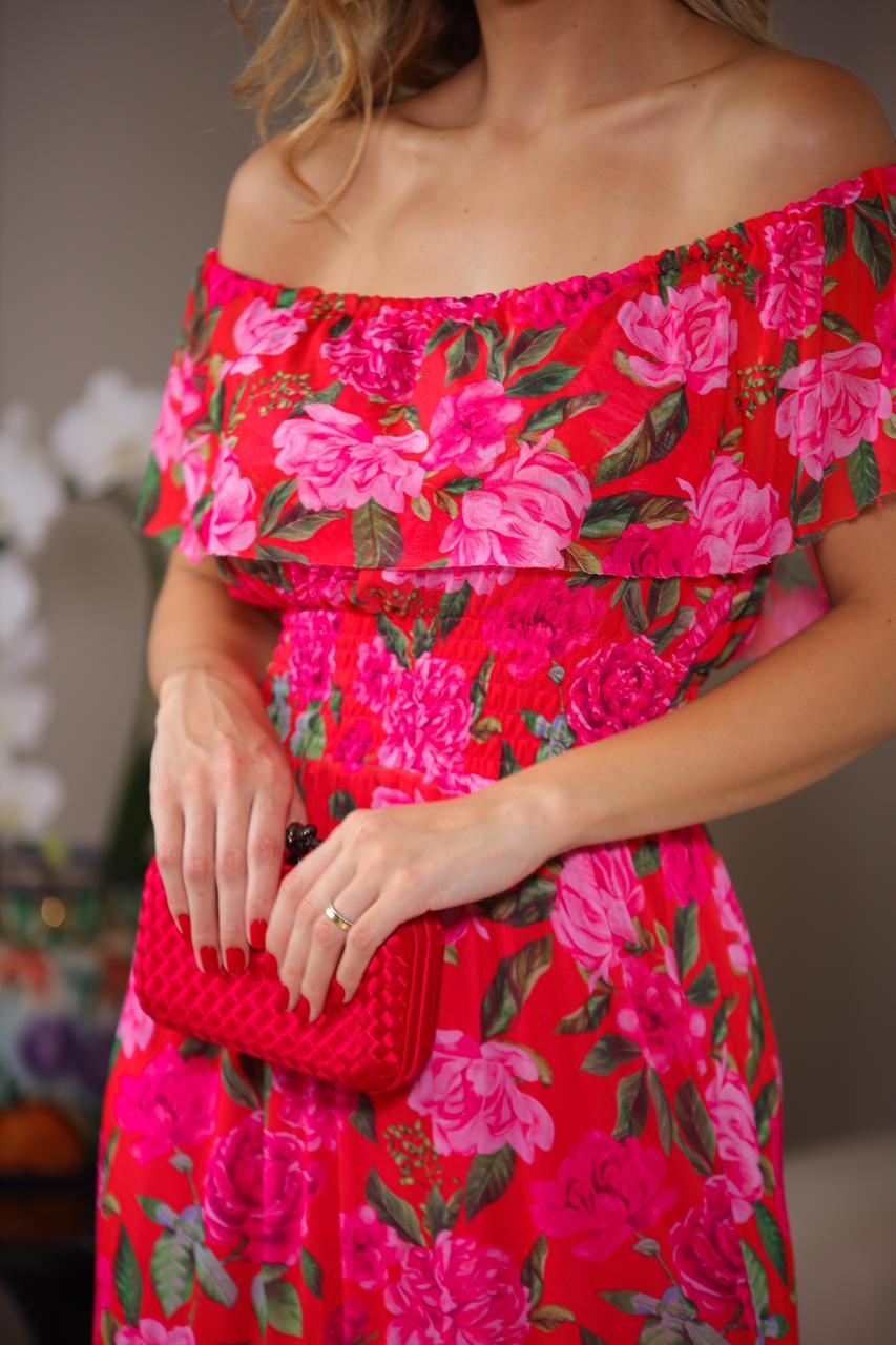 Vestido La Chocole Tule Floral  Longo  Ombro a Ombro