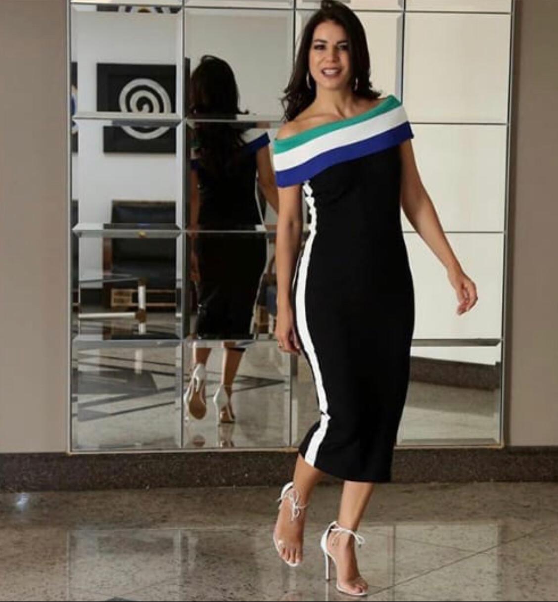 Vestido Lais Midi Ombro a Ombro 97% vicomalha 3% elastano