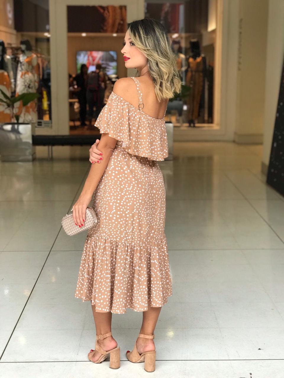 Vestido Lara Viscose Poa  Com Cinto (forro)
