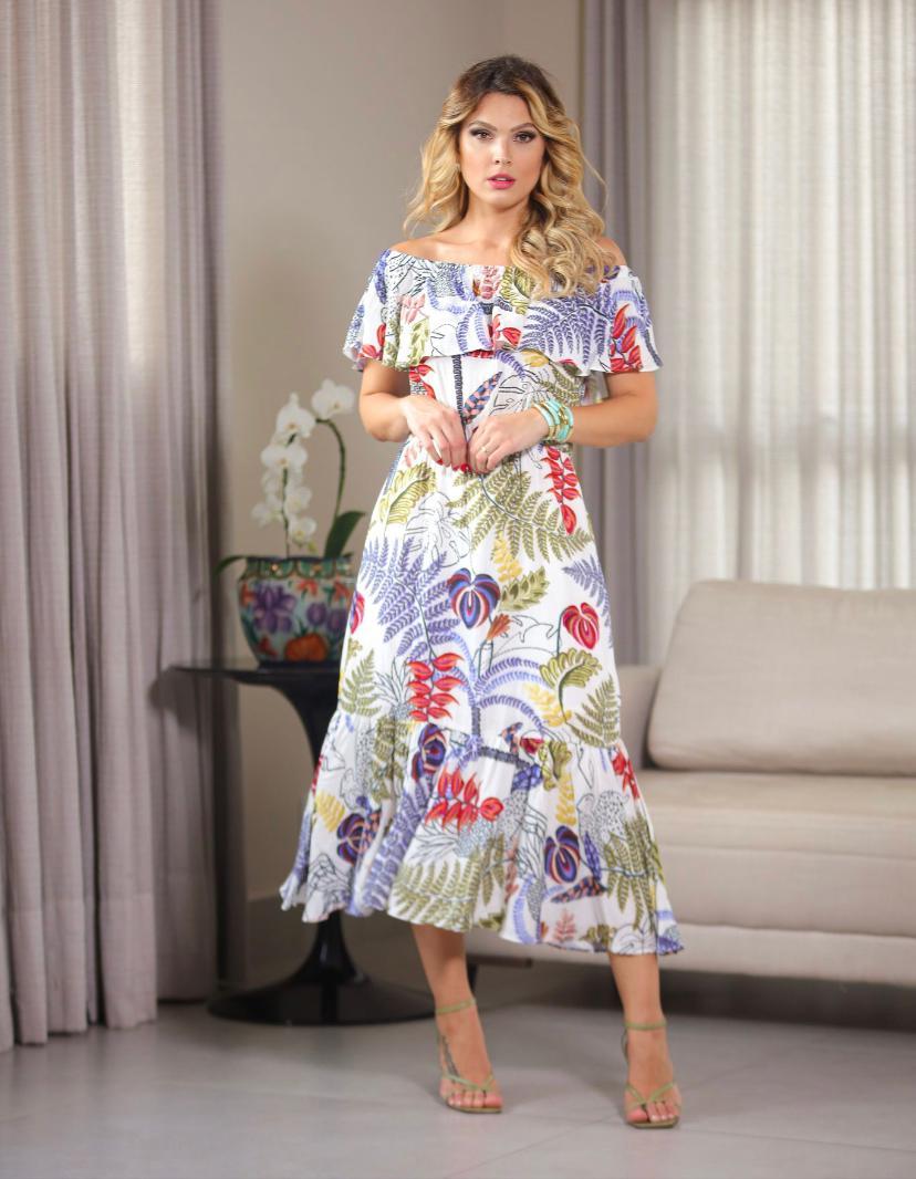 Vestido  Larissa Viscose Floral Ombro a Ombro