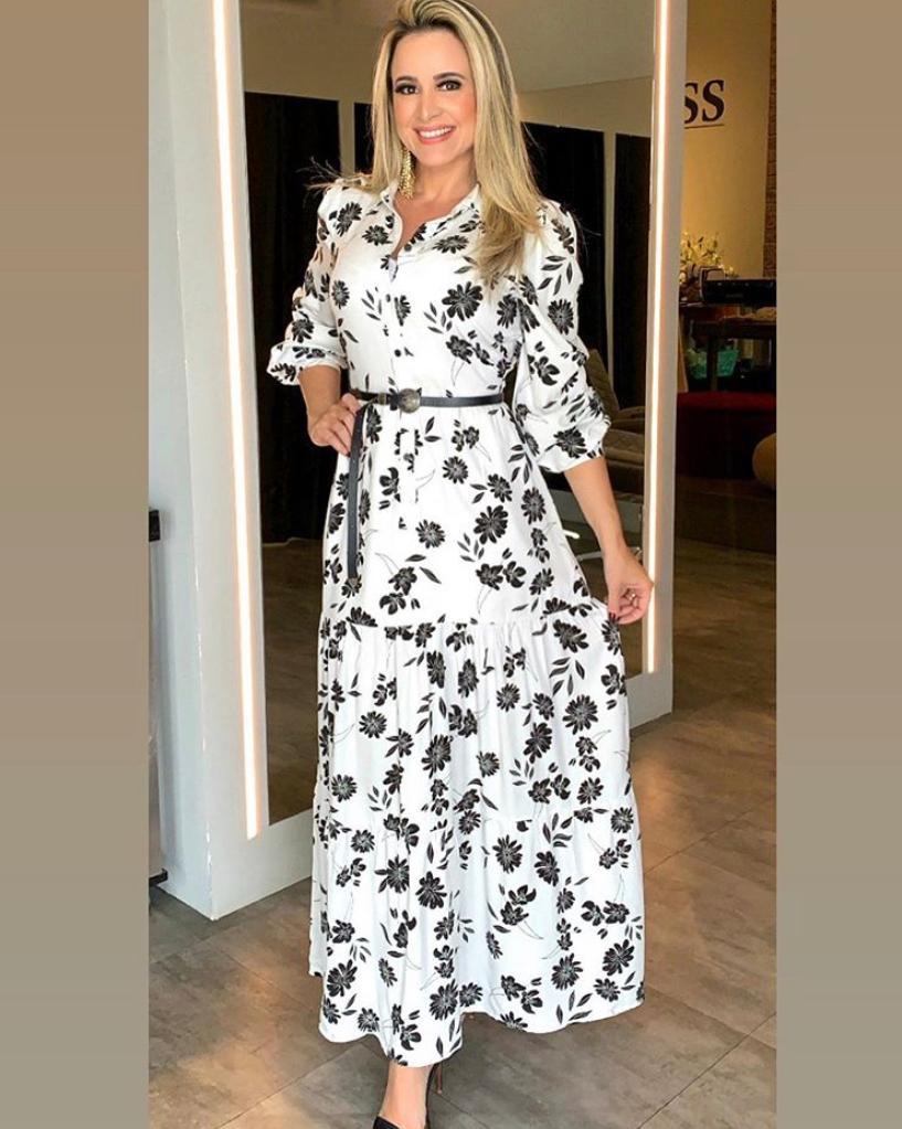 Vestido Laura Viscose Floral C/ Cinto