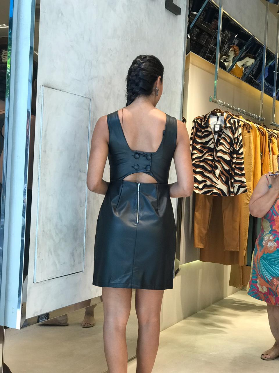 Vestido Layla Couro Detalhe Costas