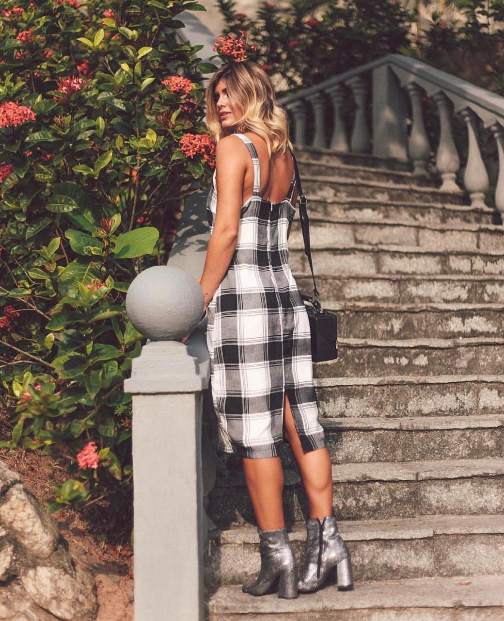Vestido Leticia Midi Xadrez Viscose (forro)