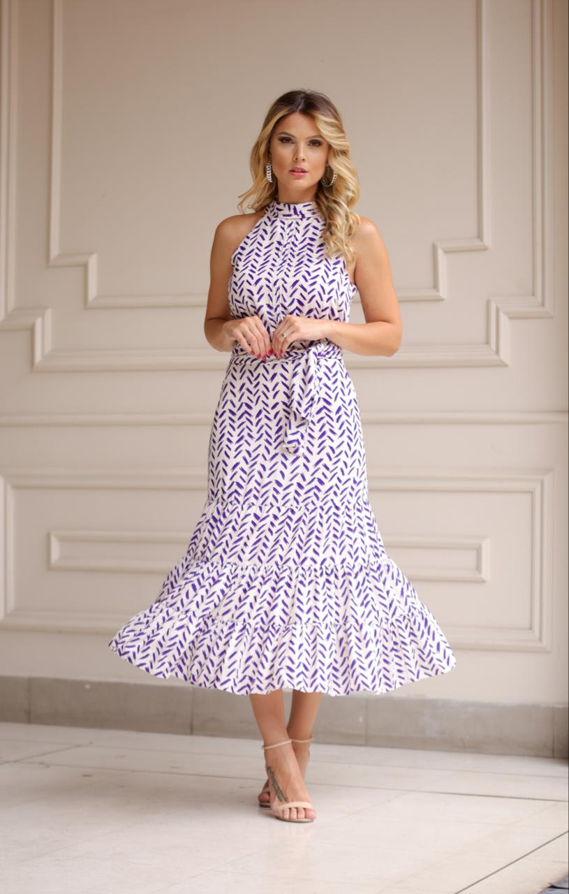 Vestido Lidia Crepe Estampado 3 Camadas
