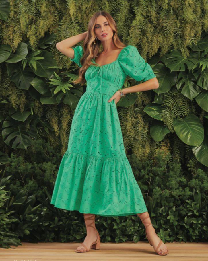 Vestido Lindaura Renda Laise (Forro) Detalhe Manguinha Bufante