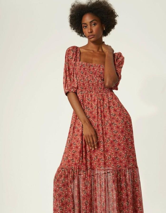 Vestido Lira 4% Elastano Tule  Floral