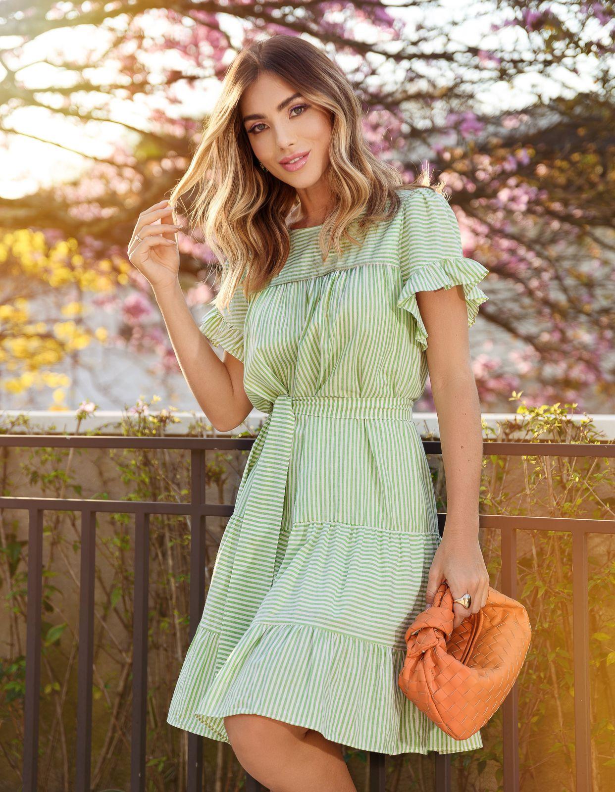 Vestido Livia Crepe ( Forro) Detalhe Babadinhos Listras + Faixa 50% Elastano