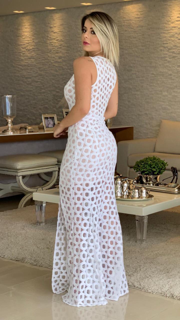 Vestido Livia Longo Renda com Tule
