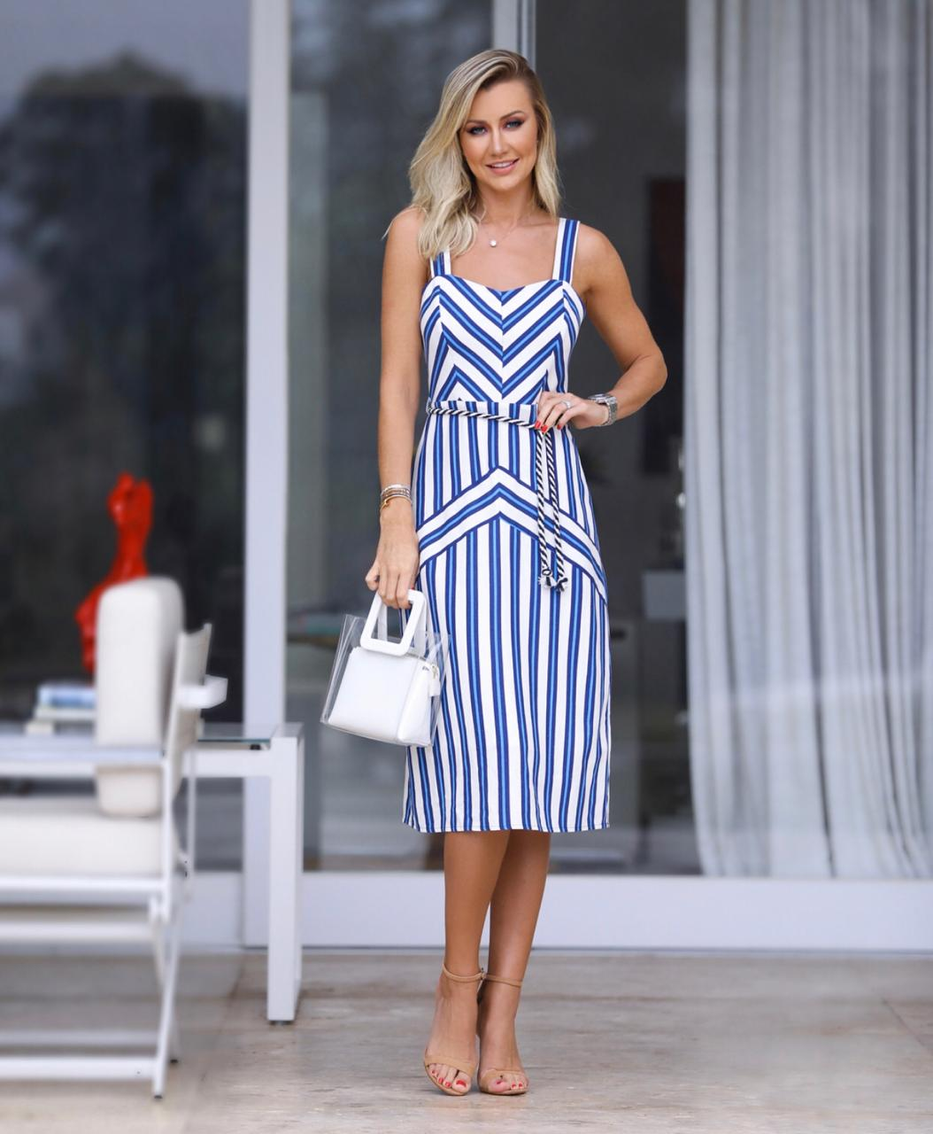 Vestido Lorena Blue Linho Listras (Forro) 70% Viscose 30% Linho