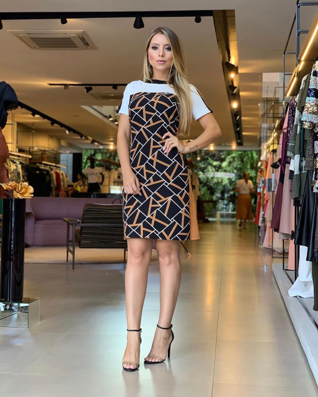 Vestido Lorena Moletinho Estampa Geométrica