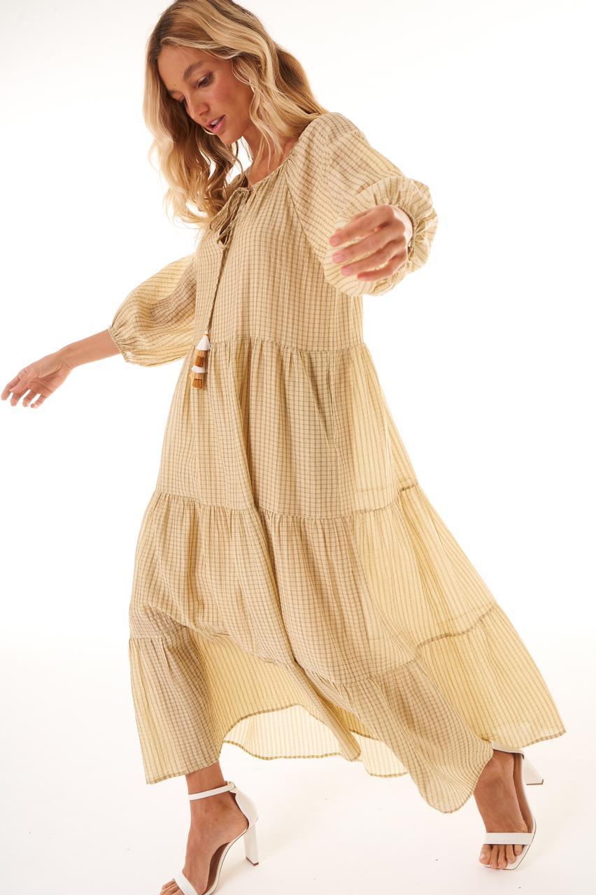 Vestido Luce Liocel (Forro) Detalhe Manga Bufante 3/4 Babados