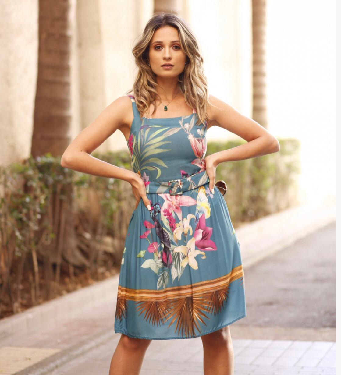 VESTIDO LUCY VISCOSE ESTAMPA TROPICAL