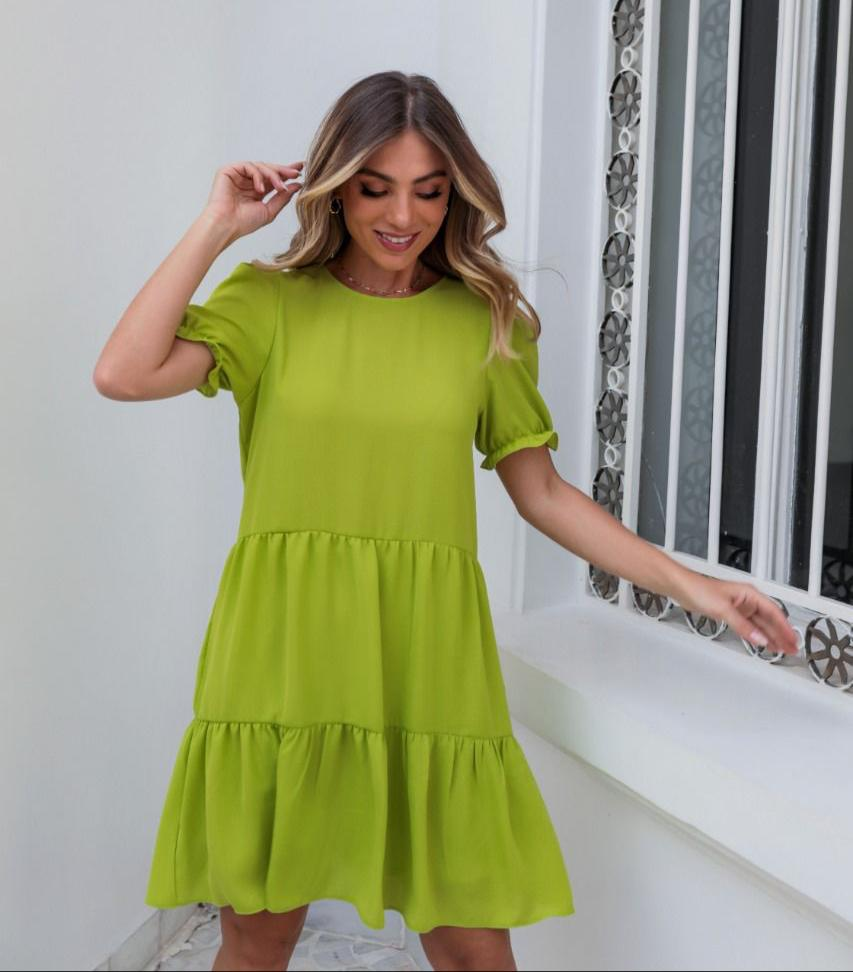 Vestido Luiza Crepe Linen Breezy Detalhe Decote Redondo Amarração Costas + Cinto Faixa