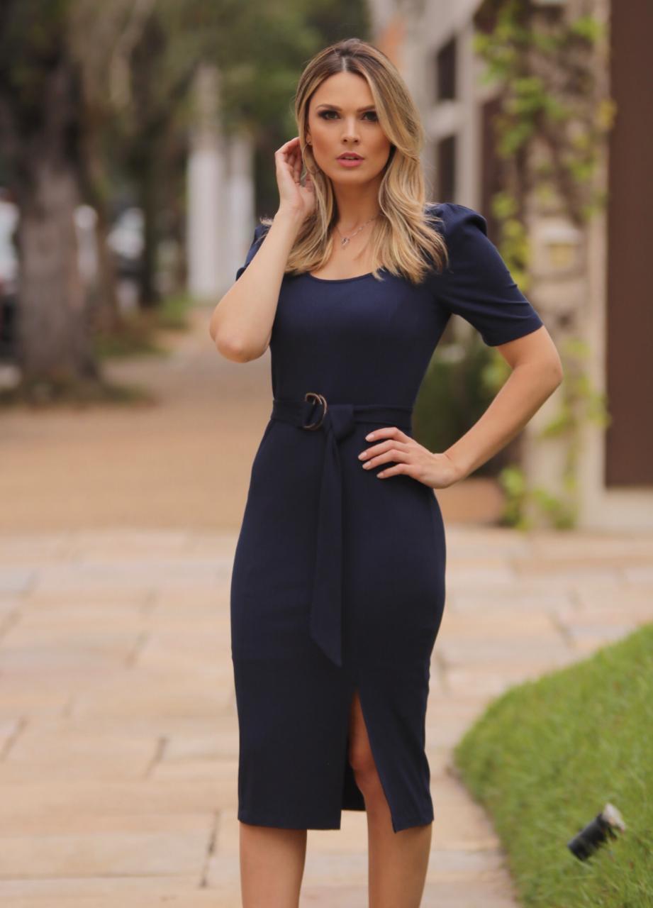 Vestido Madri Malha Canelada + Cinto Marinho