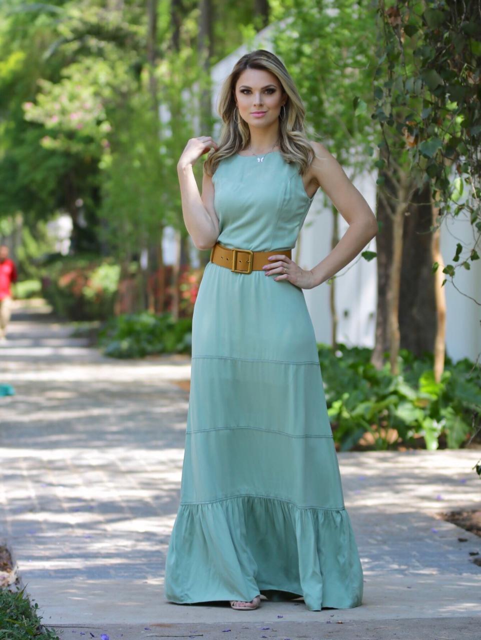 Vestido Madri Nuxx  Viscolinho  C/ Pesponto (Não acompanha cinto)