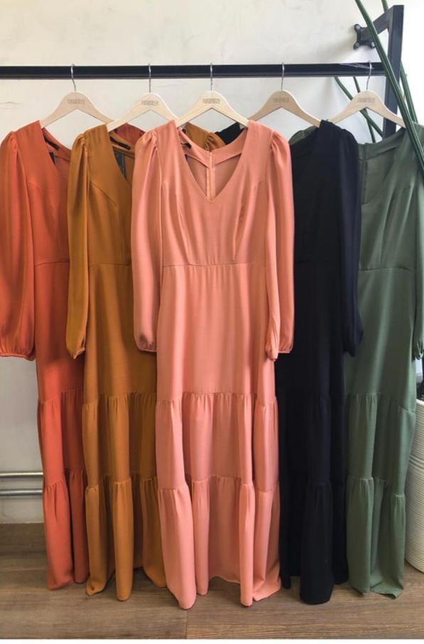 Vestido Marcele Crepe + Cinto Cores Verde e Terra