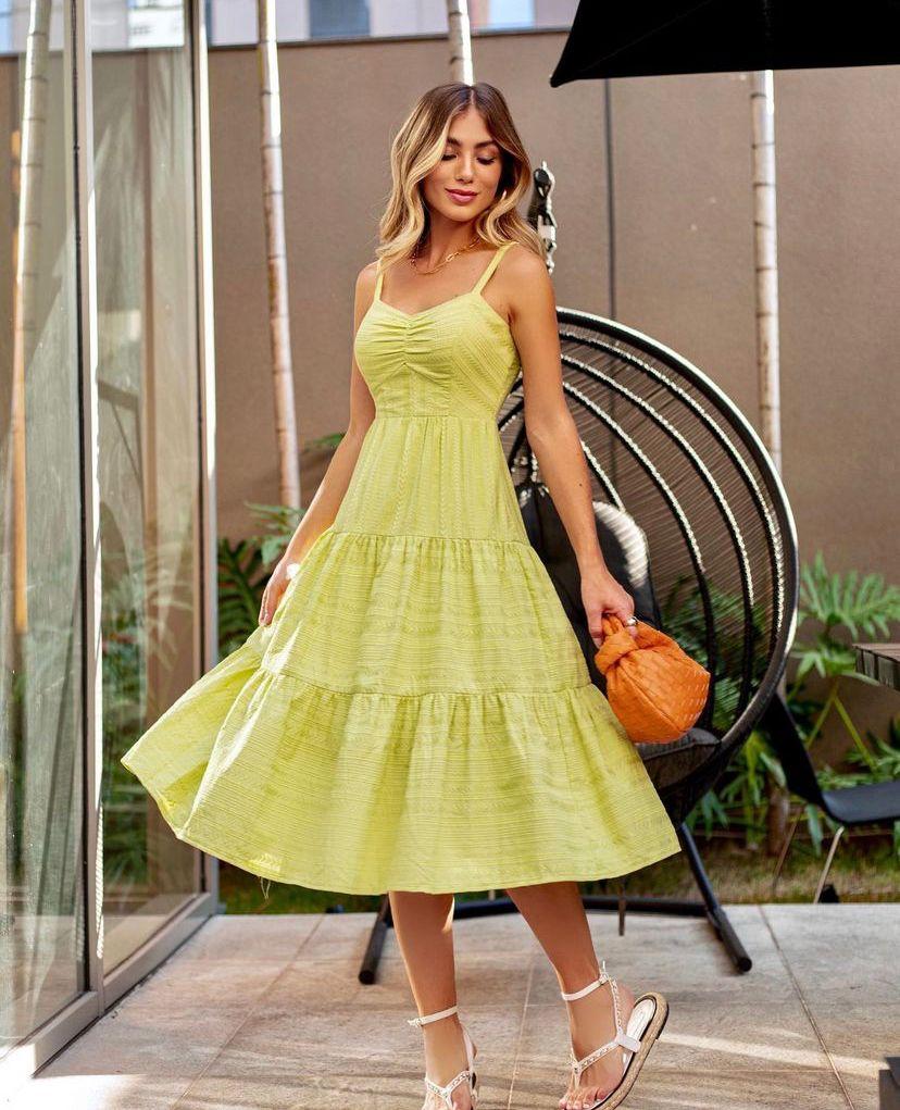 Vestido Maressa Detalhe Alça C/ Regulador Camadas (Forro) 100% Algodão