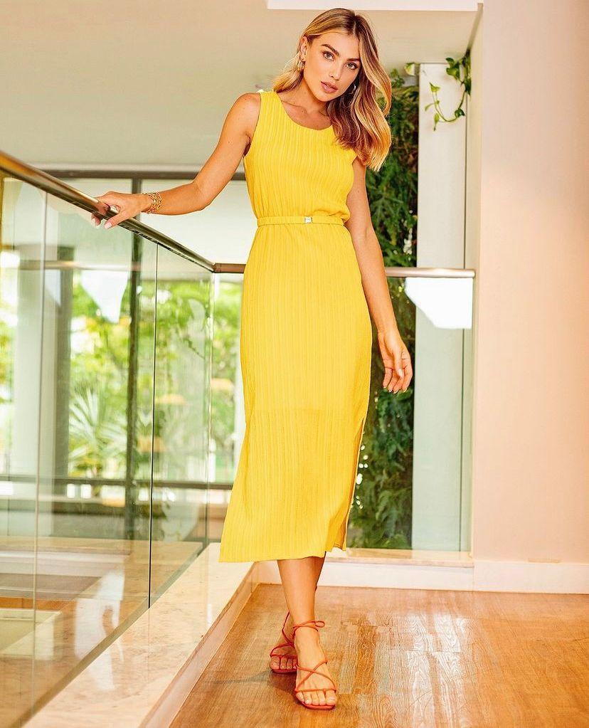 Vestido Mariana Viscose Textura  + cinto