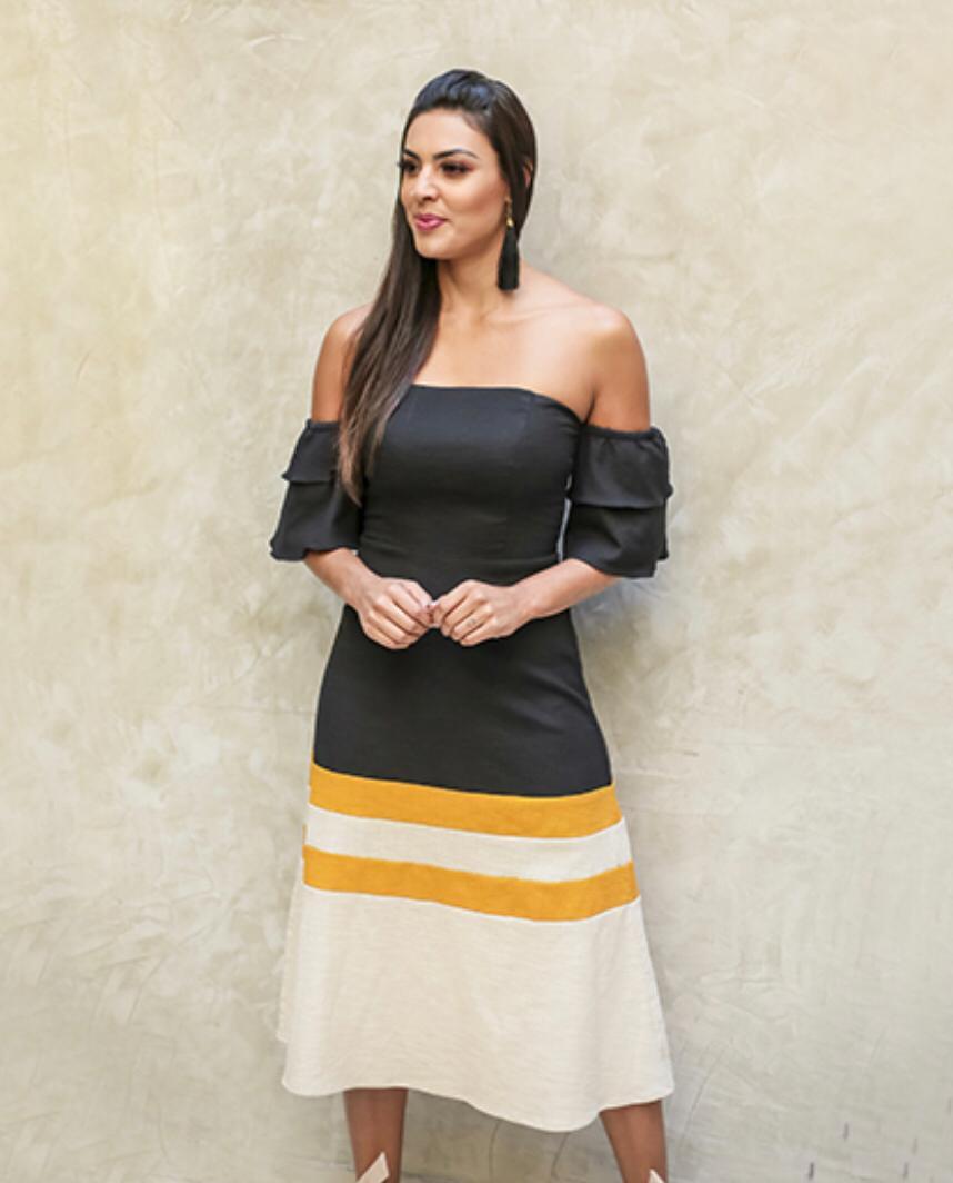Vestido Mariela Linho Midi Ombro a Ombro (Forrado)