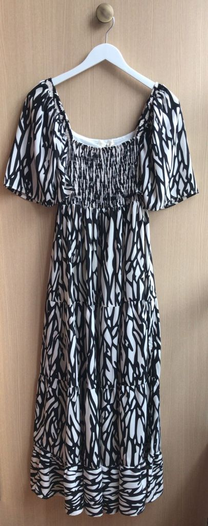 Vestido Marina Estampa Zebra Crepe (Forro) Detalhe Lastex
