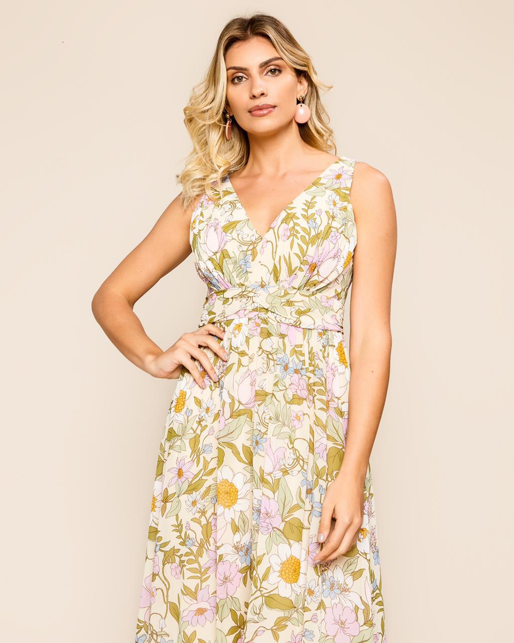 Vestido Maris Longo Floral  Chiffon Detalhe Cintura