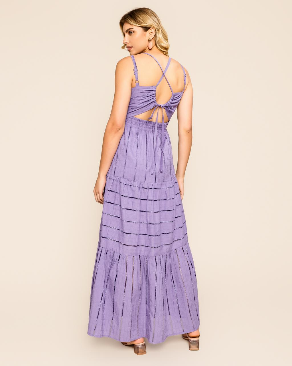 Vestido Marithia Fluido Laise Decote V  Detalhe Botões Amarração Costas