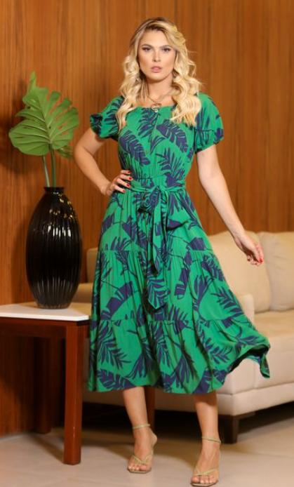 Vestido Mel Folhagem Viscose Com Faixa (Forro)