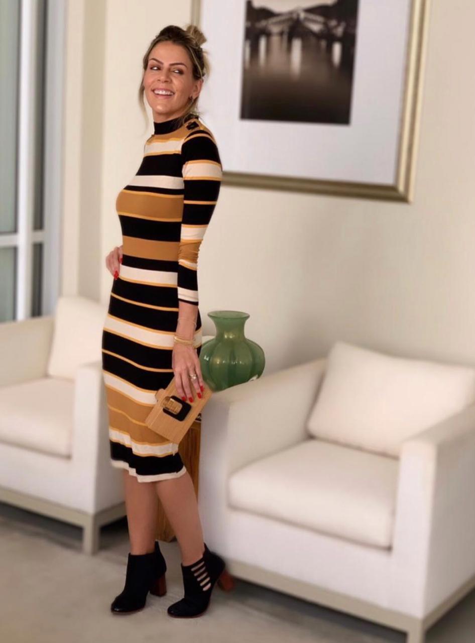 Vestido Melani Listras Midi Malha