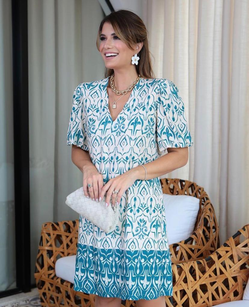 Vestido Melina Viscose Print com Barrado