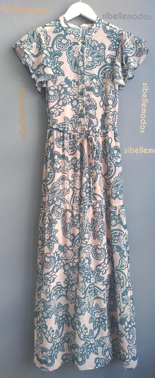 Vestido Melinda Crepe (Forro) Floral Detalhe Babados