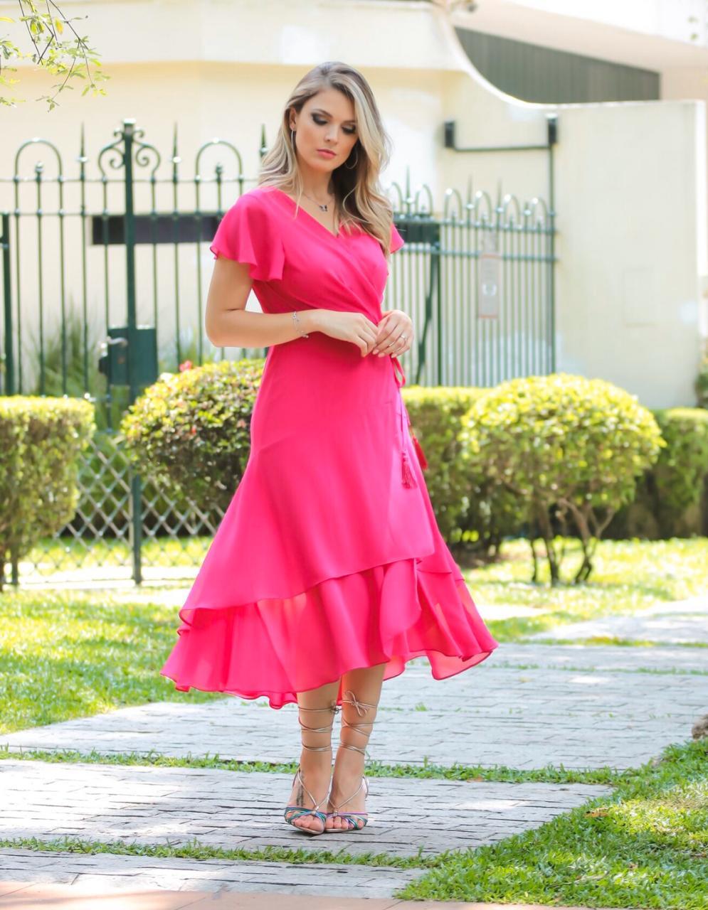 Vestido Melissa Crepe Transpassado c/ Forro