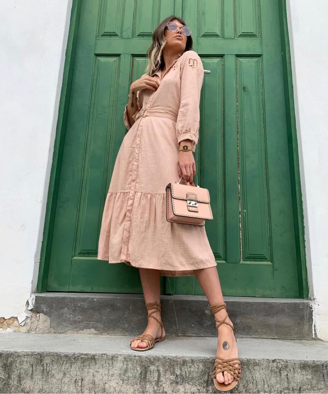 Vestido Melissa Laise Bordada  + Cinto