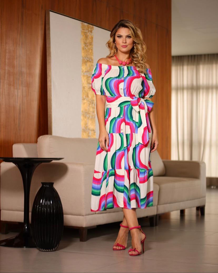 Vestido  Melissa Viscose Estampada com faixa