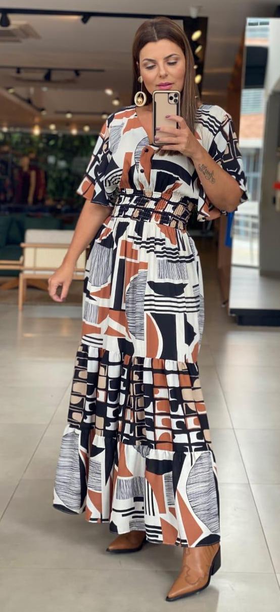 Vestido Michele Crepe Detalhe Babado Longo Nectar